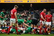 8 February 2020; Tadhg Furlong of Ireland celebrates after scoring his side's second try with team-mates during the Guinness Six Nations Rugby Championship match between Ireland and Wales at Aviva Stadium in Dublin. Photo by David Fitzgerald/Sportsfile