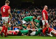 8 February 2020; Rob Herring, right, of Ireland celebrates after his side's second try, scored by Tadhg Furlong, with team-mates including Conor Murray during the Guinness Six Nations Rugby Championship match between Ireland and Wales at Aviva Stadium in Dublin. Photo by David Fitzgerald/Sportsfile