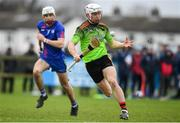 8 February 2020; Cathal Dunbar of IT Carlow in action against Craig Moran of Mary Immaculate College Limerick during the Fitzgibbon Cup Semi-Final match between Mary Immaculate College Limerick and IT Carlow at Dublin City University Sportsgrounds. Photo by Sam Barnes/Sportsfile