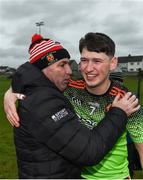 8 February 2020; Niall Brassil of IT Carlow is congratulated by IT Carlow manager DJ Carey following the Fitzgibbon Cup Semi-Final match between Mary Immaculate College Limerick and IT Carlow at Dublin City University Sportsgrounds. Photo by Sam Barnes/Sportsfile