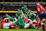 8 February 2020; Ireland players, including, from left, Peter O'Mahony, Conor Murray and Tadhg Furlong, celebrate their side's third try during the Guinness Six Nations Rugby Championship match between Ireland and Wales at Aviva Stadium in Dublin. Photo by Brendan Moran/Sportsfile
