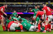 8 February 2020; Josh van der Flier of Ireland, hidden, scores his side's third try during the Guinness Six Nations Rugby Championship match between Ireland and Wales at Aviva Stadium in Dublin. Photo by Brendan Moran/Sportsfile