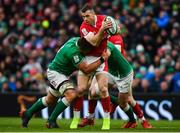 8 February 2020; Gareth Davies of Wales is tackled by CJ Stander and Jonathan Sexton of Ireland during the Guinness Six Nations Rugby Championship match between Ireland and Wales at Aviva Stadium in Dublin. Photo by David Fitzgerald/Sportsfile