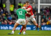 8 February 2020; Nick Tompkins of Wales is tackled by Bundee Aki of Ireland during the Guinness Six Nations Rugby Championship match between Ireland and Wales at Aviva Stadium in Dublin. Photo by David Fitzgerald/Sportsfile