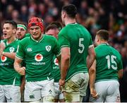 8 February 2020; Josh van der Flier of Ireland celebrates a turnover with team-mates during the Guinness Six Nations Rugby Championship match between Ireland and Wales at Aviva Stadium in Dublin. Photo by David Fitzgerald/Sportsfile