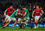 8 February 2020; Taulupe Faletau of Wales is tackled by Rob Herring, left, and Iain Henderson of Ireland during the Guinness Six Nations Rugby Championship match between Ireland and Wales at Aviva Stadium in Dublin. Photo by David Fitzgerald/Sportsfile