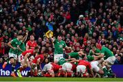 8 February 2020; Ireland players including Peter O'Mahony and Conor Murray celebrate a turnover during the Guinness Six Nations Rugby Championship match between Ireland and Wales at Aviva Stadium in Dublin. Photo by Brendan Moran/Sportsfile
