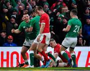 8 February 2020; Andrew Conway of Ireland celebrates after scoring his side's fourth try with team-mate John Cooney during the Guinness Six Nations Rugby Championship match between Ireland and Wales at Aviva Stadium in Dublin. Photo by Brendan Moran/Sportsfile