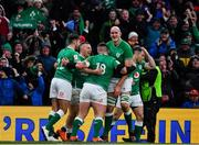 8 February 2020; Andrew Conway of Ireland celebrates after scoring his side's fourth try with team-mates Ross Byrne, Andrew Porter, Devin Toner and John Cooney during the Guinness Six Nations Rugby Championship match between Ireland and Wales at Aviva Stadium in Dublin. Photo by Brendan Moran/Sportsfile