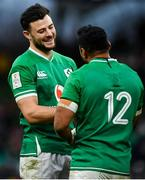 8 February 2020; Robbie Henshaw, left, and Bundee Aki celebrate following the Guinness Six Nations Rugby Championship match between Ireland and Wales at Aviva Stadium in Dublin. Photo by David Fitzgerald/Sportsfile
