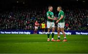 8 February 2020; Keith Earls, left, and Andrew Conway celebrate following the Guinness Six Nations Rugby Championship match between Ireland and Wales at Aviva Stadium in Dublin. Photo by David Fitzgerald/Sportsfile