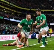 8 February 2020; Andrew Conway of Ireland celebrates with team-mate Ross Byrne , right, after scoring his side's fourth try during the Guinness Six Nations Rugby Championship match between Ireland and Wales at the Aviva Stadium in Dublin. Photo by Ramsey Cardy/Sportsfile