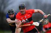 8 February 2020; Paddy O'Loughlin of UCC in action against Donal Burke of DCU Dóchas Éireann during the Fitzgibbon Cup Semi-Final match between DCU Dóchas Éireann and UCC at Dublin City University Sportsgrounds. Photo by Sam Barnes/Sportsfile