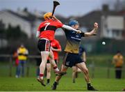 8 February 2020; Rian McBride of DCU Dóchas Éireann in action against Niall O'Leary of UCC during the Fitzgibbon Cup Semi-Final match between DCU Dóchas Éireann and UCC at Dublin City University Sportsgrounds. Photo by Sam Barnes/Sportsfile
