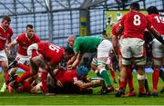 8 February 2020; Justin Tipuric of Wales scores his side's second try during the Guinness Six Nations Rugby Championship match between Ireland and Wales at Aviva Stadium in Dublin. Photo by David Fitzgerald/Sportsfile