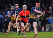 8 February 2020; Adrian Mullen of DCU Dóchas Éireann scores a point under pressure from David Griffin of UCC during the Fitzgibbon Cup Semi-Final match between DCU Dóchas Éireann and UCC at Dublin City University Sportsgrounds. Photo by Sam Barnes/Sportsfile