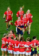 8 February 2020; Cork players prior to the Lidl Ladies National Football League Division 1 Round 3 match between Dublin and Cork at Croke Park in Dublin. Photo by Stephen McCarthy/Sportsfile