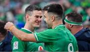 8 February 2020; Ireland captain Jonathan Sexton, left, celebrates with team-mate Conor Murray after the Guinness Six Nations Rugby Championship match between Ireland and Wales at Aviva Stadium in Dublin. Photo by Brendan Moran/Sportsfile