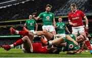 8 February 2020; Andrew Conway of Ireland celebrates with team-mate Ross Byrne, above, after scoring his side's fourth try during the Guinness Six Nations Rugby Championship match between Ireland and Wales at the Aviva Stadium in Dublin. Photo by Ramsey Cardy/Sportsfile