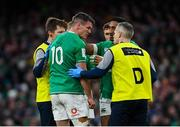 8 February 2020; Jonathan Sexton of Ireland is treated for an injury during the Guinness Six Nations Rugby Championship match between Ireland and Wales at the Aviva Stadium in Dublin. Photo by Ramsey Cardy/Sportsfile