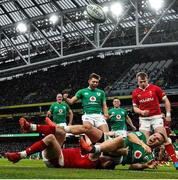 8 February 2020; Andrew Conway of Ireland celebrates with team-mate Ross Byrne , above, after scoring his side's fourth try during the Guinness Six Nations Rugby Championship match between Ireland and Wales at the Aviva Stadium in Dublin. Photo by Ramsey Cardy/Sportsfile
