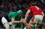8 February 2020; Devin Toner of Ireland afer having his shirt pulled over his head by Alun Wyn Jones of Wales during the Guinness Six Nations Rugby Championship match between Ireland and Wales at the Aviva Stadium in Dublin. Photo by Ramsey Cardy/Sportsfile