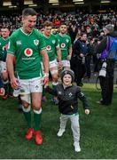 8 February 2020; Ireland captain Jonathan Sexton with his son Luca after the Guinness Six Nations Rugby Championship match between Ireland and Wales at Aviva Stadium in Dublin. Photo by Brendan Moran/Sportsfile