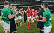 8 February 2020; Wales captain Alun Wyn Jones leads his side from the pitch after the Guinness Six Nations Rugby Championship match between Ireland and Wales at Aviva Stadium in Dublin. Photo by Brendan Moran/Sportsfile