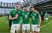 8 February 2020; Ireland players, from left, James Ryan, Max Deegan and Ross Byrne after the Guinness Six Nations Rugby Championship match between Ireland and Wales at Aviva Stadium in Dublin. Photo by Brendan Moran/Sportsfile
