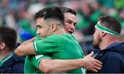 8 February 2020; Ireland captain Jonathan Sexton, right, celebrates with team-mate Conor Murray after the Guinness Six Nations Rugby Championship match between Ireland and Wales at Aviva Stadium in Dublin. Photo by Brendan Moran/Sportsfile