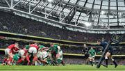 8 February 2020; Josh van der Flier of Ireland (7) scores his side's third try in a maul during the Guinness Six Nations Rugby Championship match between Ireland and Wales at Aviva Stadium in Dublin. Photo by Brendan Moran/Sportsfile