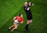 8 February 2020; Orlagh Farmer of Cork and referee Niall McCormack during the Lidl Ladies National Football League Division 1 Round 3 match between Dublin and Cork at Croke Park in Dublin. Photo by Stephen McCarthy/Sportsfile