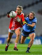 8 February 2020; Orla Finn of Cork in action against Éabha Rutledge of Dublin during the Lidl Ladies National Football League Division 1 Round 3 match between Dublin and Cork at Croke Park in Dublin. Photo by Seb Daly/Sportsfile