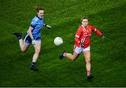 8 February 2020; Libby Coppinger of Cork in action against Muireann Ni Scanaill of Dublin during the Lidl Ladies National Football League Division 1 Round 3 match between Dublin and Cork at Croke Park in Dublin. Photo by Stephen McCarthy/Sportsfile