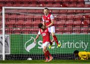 7 February 2020; Darragh Markey of St Patrick's Athletic, left, is congratulated by team-mate Jamie Lennon after scoring his side's first goal during the pre-season friendly match between St Patrick's Athletic and Drogheda United at Richmond Park in Dublin. Photo by Seb Daly/Sportsfile