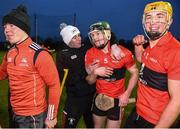 8 February 2020; Mark Coleman of UCC, second from right, is congratulated by team-mates after scoring the winning point in the Fitzgibbon Cup Semi-Final match between DCU Dóchas Éireann and UCC at Dublin City University Sportsgrounds. Photo by Sam Barnes/Sportsfile
