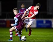 7 February 2020; Jason McClellend of St Patrick's Athletic is tackled by Conor Kane of Drogheda United during the pre-season friendly match between St Patrick's Athletic and Drogheda United at Richmond Park in Dublin. Photo by Seb Daly/Sportsfile