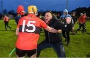 8 February 2020; Mark Kehoe of UCC celebrates with a member of coaching staff following the Fitzgibbon Cup Semi-Final match between DCU Dóchas Éireann and UCC at Dublin City University Sportsgrounds. Photo by Sam Barnes/Sportsfile