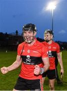 8 February 2020; Paddy O'Loughlin, left, and Darragh Fitzgibbon of UCC celebrate following the Fitzgibbon Cup Semi-Final match between DCU Dóchas Éireann and UCC at Dublin City University Sportsgrounds. Photo by Sam Barnes/Sportsfile