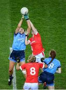 8 February 2020; Jennifer Dunne of Dublin in action against Hannah Looney of Cork during the Lidl Ladies National Football League Division 1 Round 3 match between Dublin and Cork at Croke Park in Dublin. Photo by Stephen McCarthy/Sportsfile