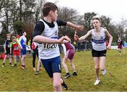 8 February 2020; Dylan Ryan of Donboyne AC, Meath, left, takes the baton from team-mate Jed Collins during the under-14 boys relay during the Irish Life Health National Intermediate, Master, Juvenile B & Relays Cross Country at Avondale in Rathdrum, Co Wicklow. Photo by Matt Browne/Sportsfile