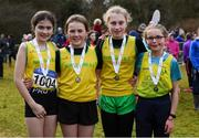 8 February 2020; Members of the under-12 girls relay team from North Cork AC, who came third, from left, Caoilainn Ryan, Anna Lucey-O'Sullivan, Eimile Browne and Muireann Bradley during the Irish Life Health National Intermediate, Master, Juvenile B & Relays Cross Country at Avondale in Rathdrum, Co Wicklow. Photo by Matt Browne/Sportsfile