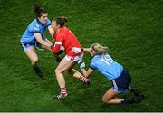 8 February 2020; Aisling Hutchings of Cork in action against Niamh Collins, left, and Niamh Sweeney of Dublin during the Lidl Ladies National Football League Division 1 Round 3 match between Dublin and Cork at Croke Park in Dublin. Photo by Stephen McCarthy/Sportsfile