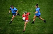 8 February 2020; Orla Finn of Cork in action against Niamh Collins, left, and Martha Byrne of Dublin during the Lidl Ladies National Football League Division 1 Round 3 match between Dublin and Cork at Croke Park in Dublin. Photo by Stephen McCarthy/Sportsfile
