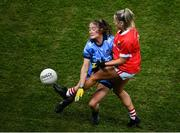 8 February 2020; Laura O'Mahony of Cork and Éabha Rutledge of Dublin during the Lidl Ladies National Football League Division 1 Round 3 match between Dublin and Cork at Croke Park in Dublin. Photo by Stephen McCarthy/Sportsfile