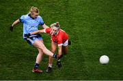 8 February 2020; Carla Rowe of Dublin in action against Laura O'Mahony of Cork during the Lidl Ladies National Football League Division 1 Round 3 match between Dublin and Cork at Croke Park in Dublin. Photo by Stephen McCarthy/Sportsfile