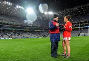 8 February 2020; Cork manager Ephie Fitzgerald and captain Aisling Hutchings following their side's victory during the Lidl Ladies National Football League Division 1 Round 3 match between Dublin and Cork at Croke Park in Dublin. Photo by Seb Daly/Sportsfile