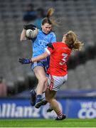 8 February 2020; Laura Kane of Dublin in action against Róisín Phelan of Cork during the Lidl Ladies National Football League Division 1 Round 3 match between Dublin and Cork at Croke Park in Dublin. Photo by Seb Daly/Sportsfile