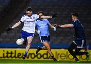 8 February 2020; Conor McManus of Monaghan shoots past Evan Comerford in the Dublin goal to score his side's first goal in the first minute of the Allianz Football League Division 1 Round 3 match between Dublin and Monaghan at Croke Park in Dublin. Photo by Ray McManus/Sportsfile