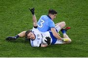 8 February 2020; Conor McManus of Monaghan calls a mark despite the attention of David Byrne of Dublin during the Allianz Football League Division 1 Round 3 match between Dublin and Monaghan at Croke Park in Dublin. Photo by Stephen McCarthy/Sportsfile